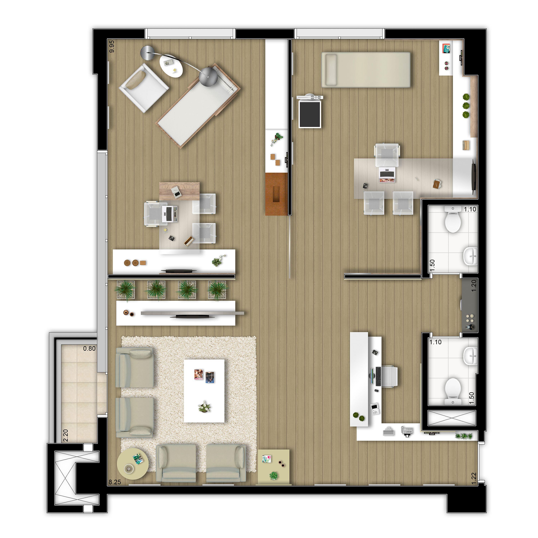 90 m² decorado