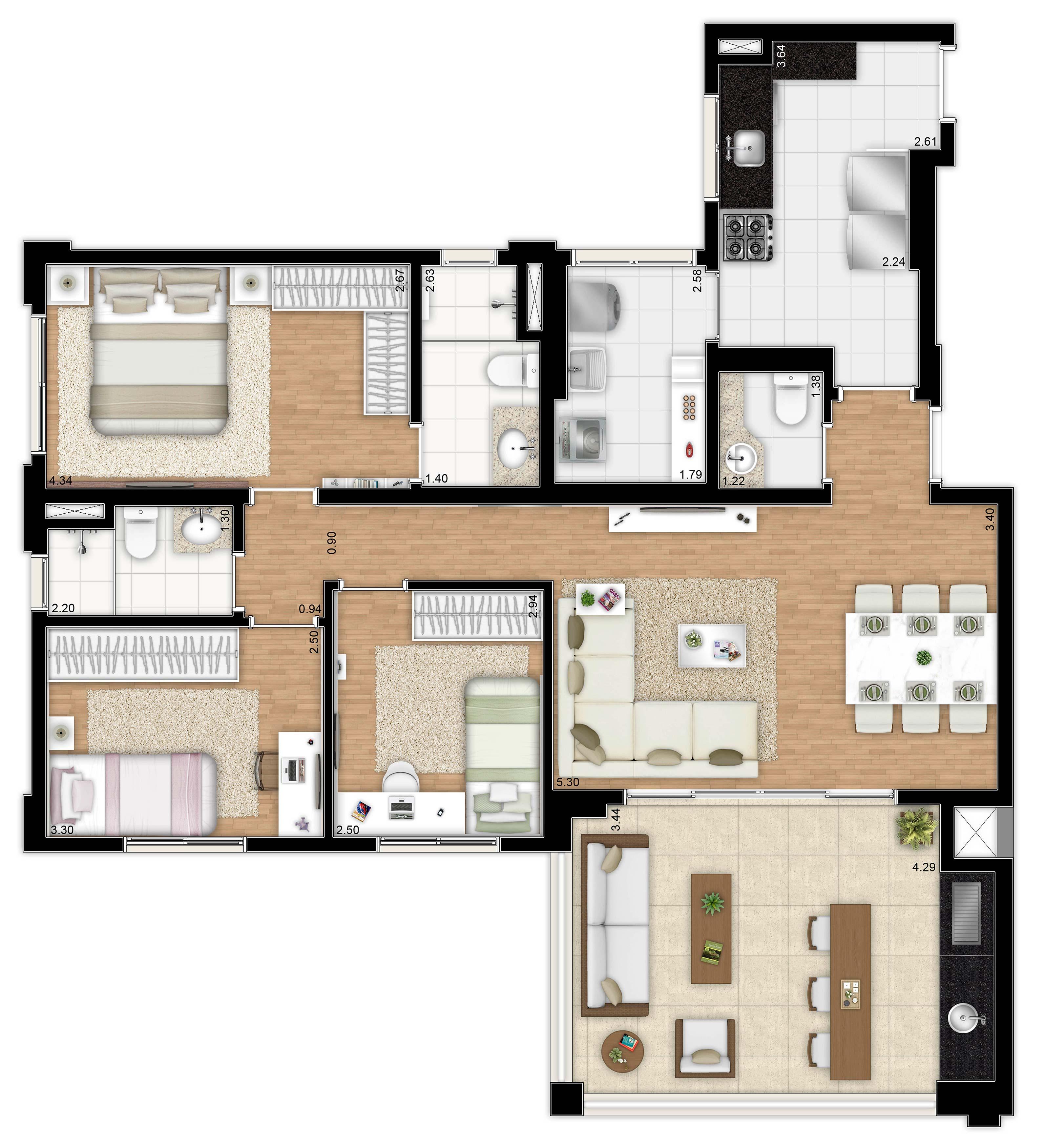 109 m² - 3 dorms - apto tipo