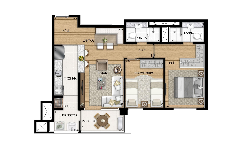 65 m² - Opção com living ampliado
