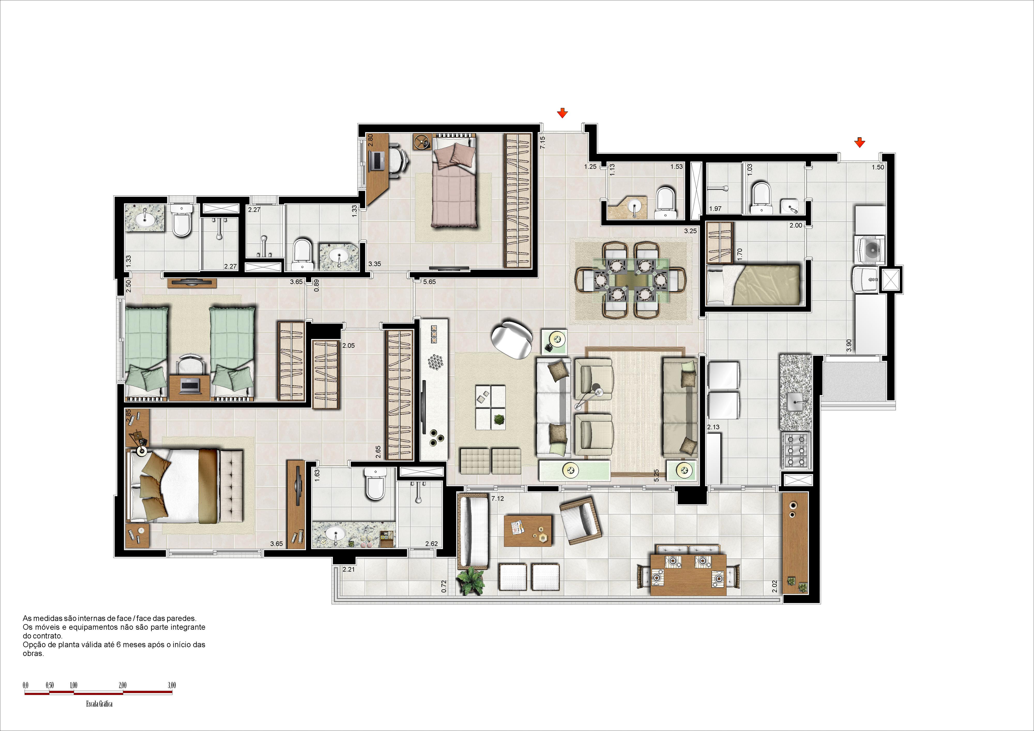 133m² - 3 suítes com sala ampliada