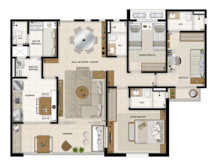 113 m² - 3 dorms