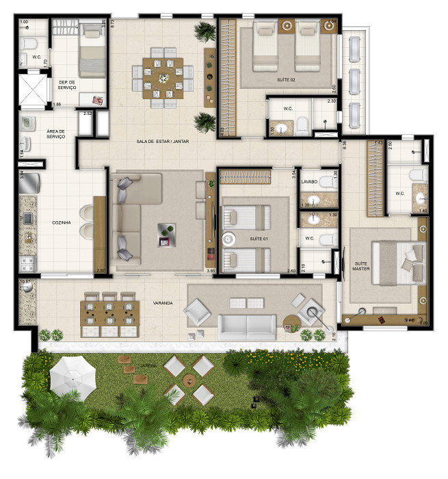 148 m² - 3 suítes - 1º pavimento