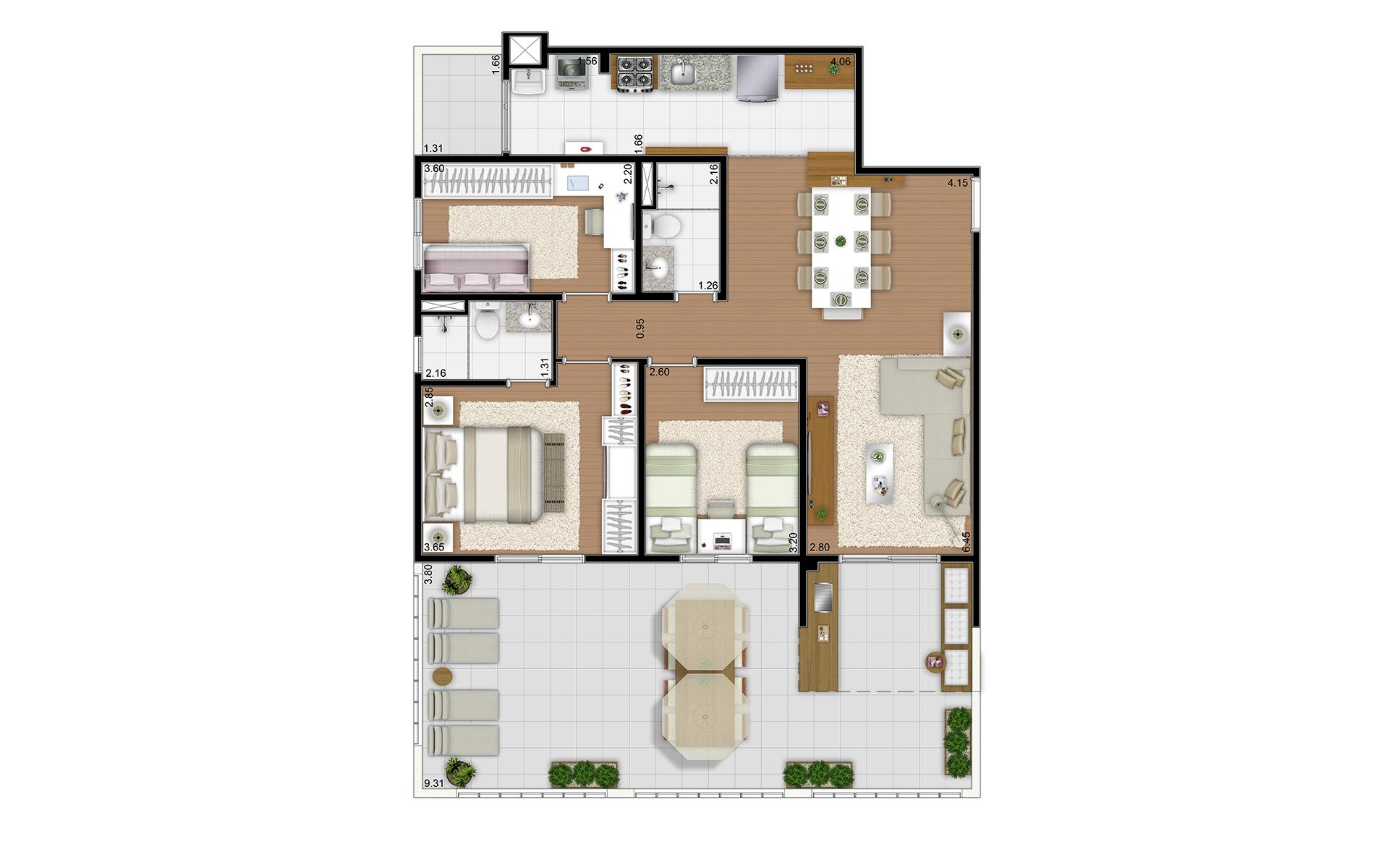 118 m² - 3 dorms - Térreo final 8