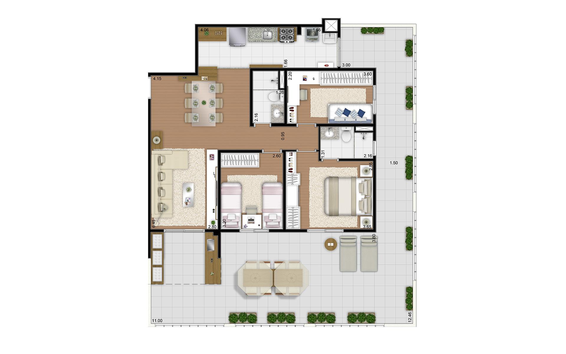 139 m² - 3 dorms - Térreo final 2
