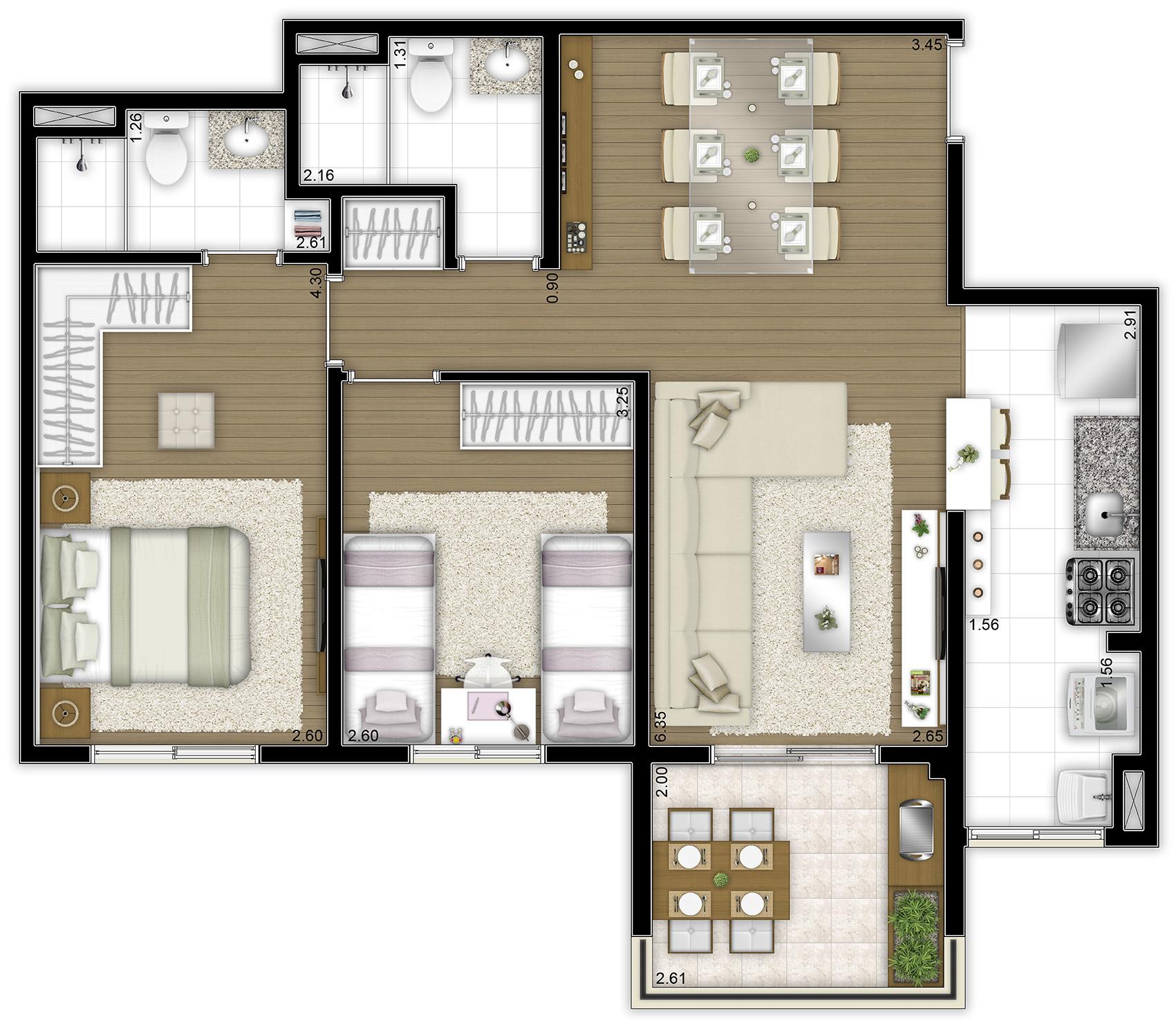 69,70 m² - 2 dorms