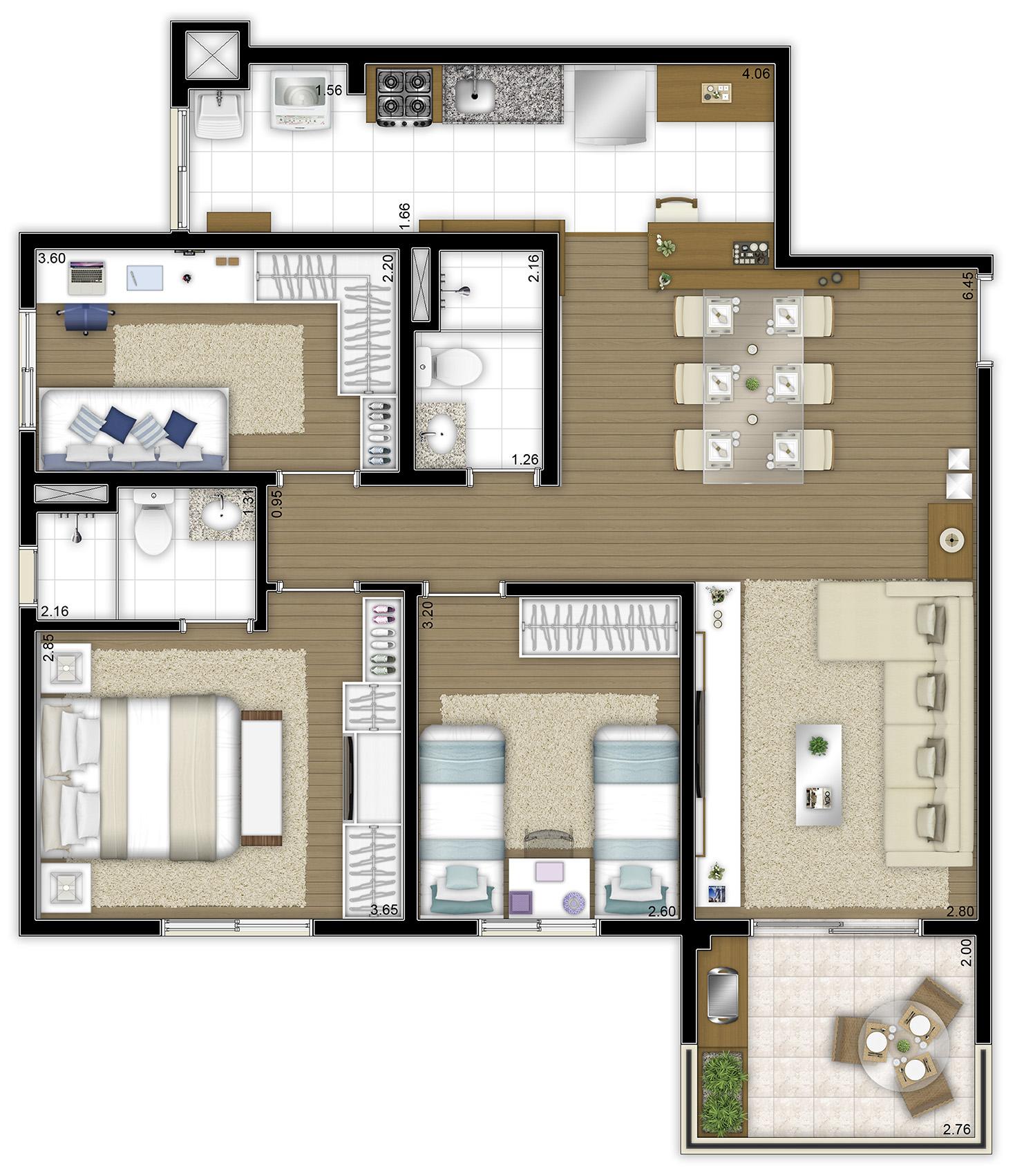84,50 m² - 3 dorms
