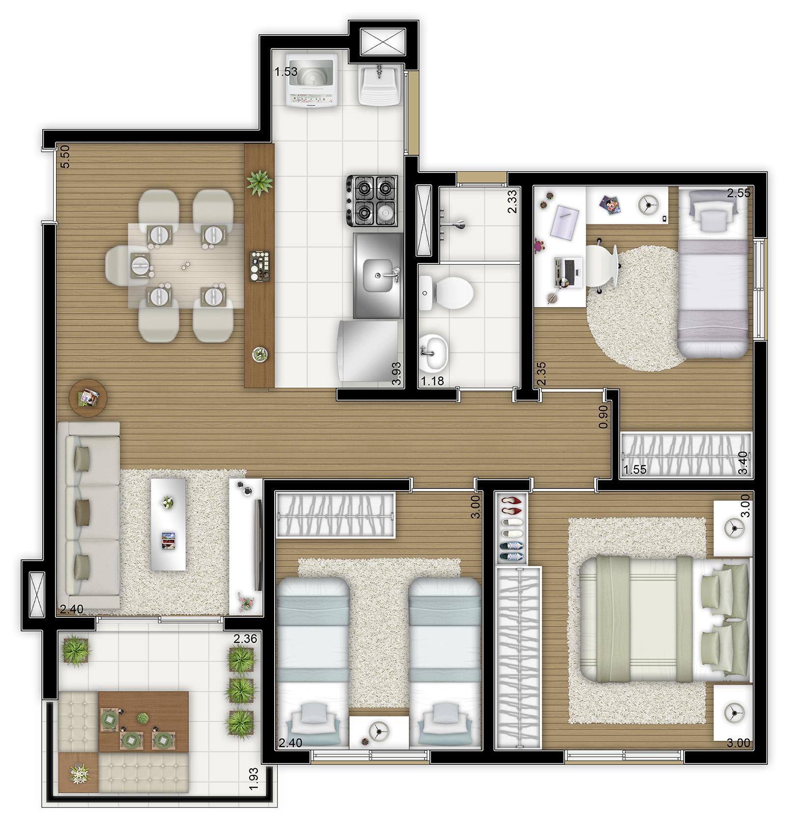 62,83m² - 3 dorms