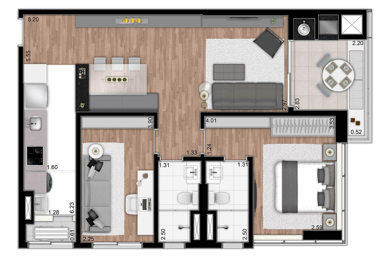 76,43 m² - 2 dorms