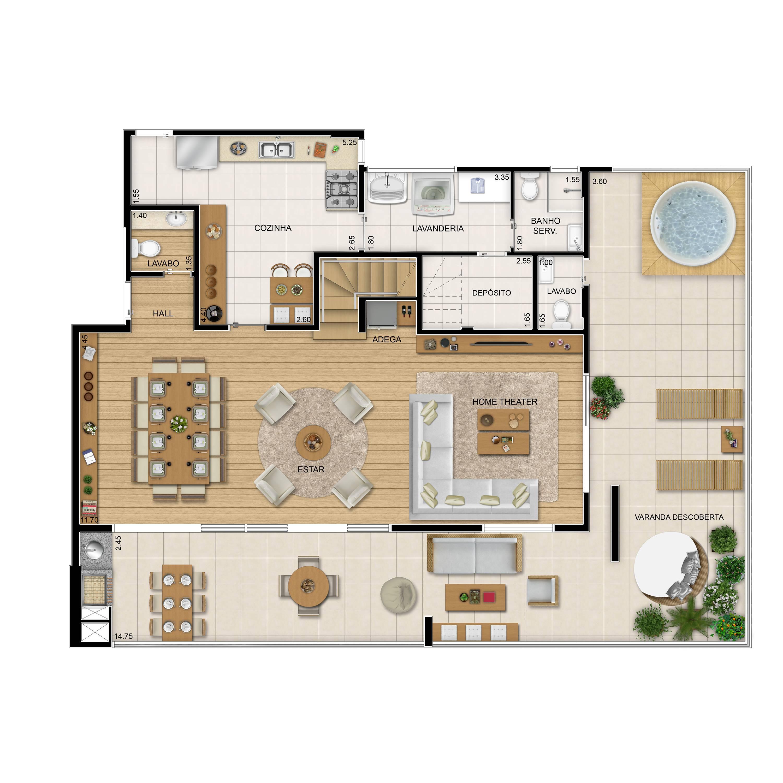 308m² - Duplex inferior tipo - 4 quartos