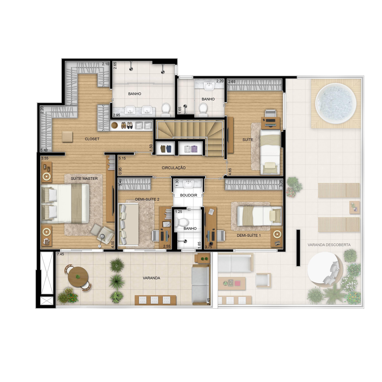 308m² - Duplex superior tipo - 4 quartos