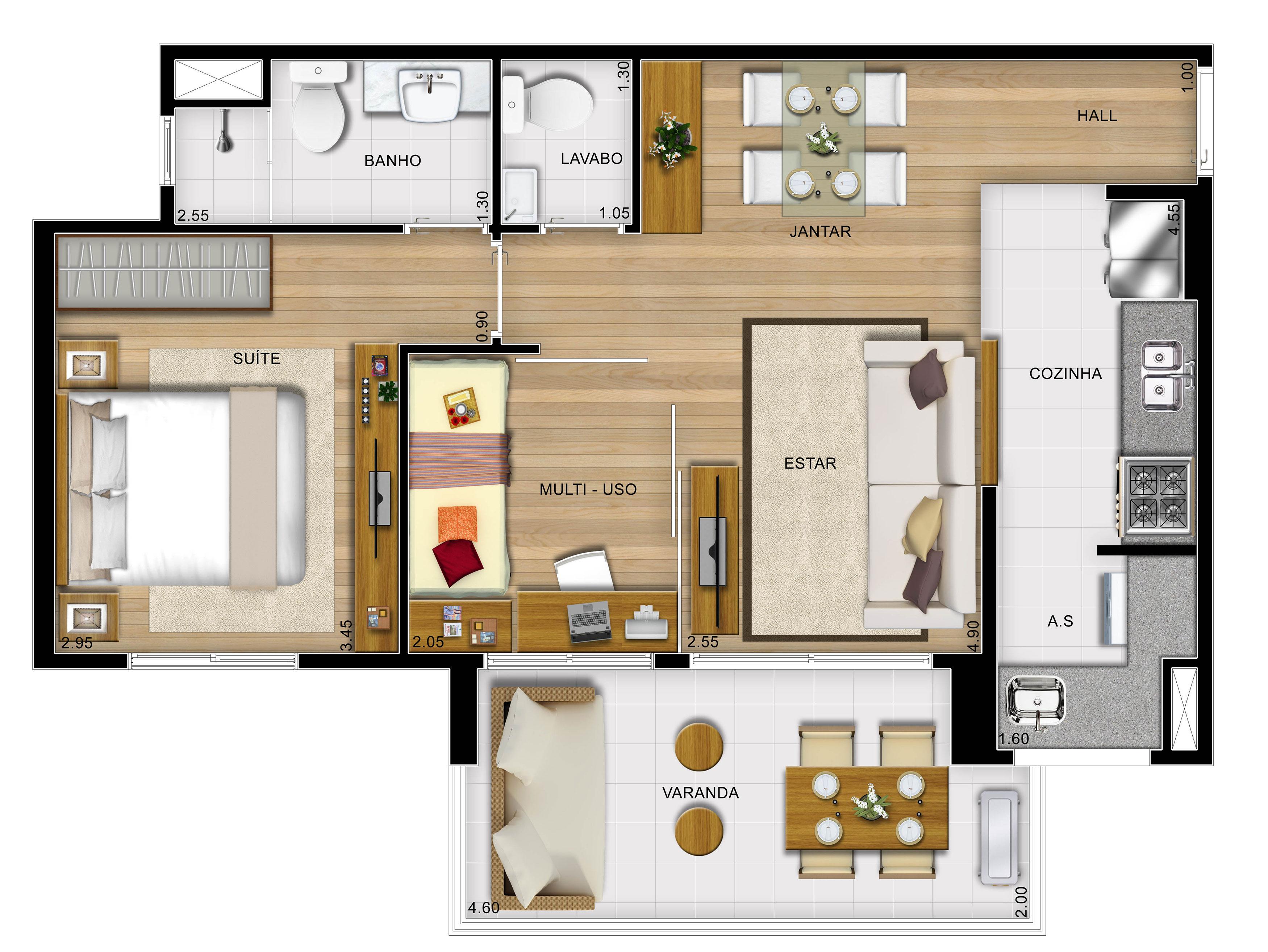 60,31m² 2 dorms cozinha americana