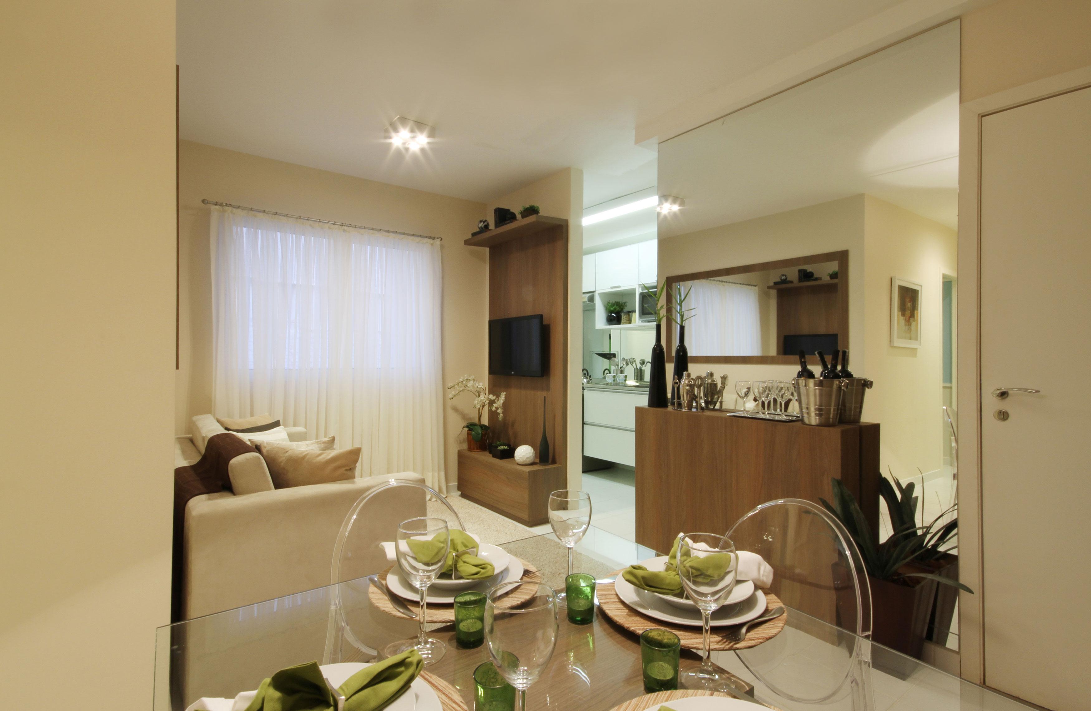 44,4m² Sala de Estar e Cozinha