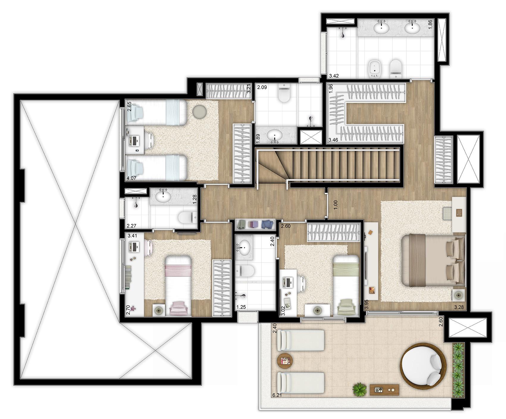 259m² - 4 suítes - Duplex superior