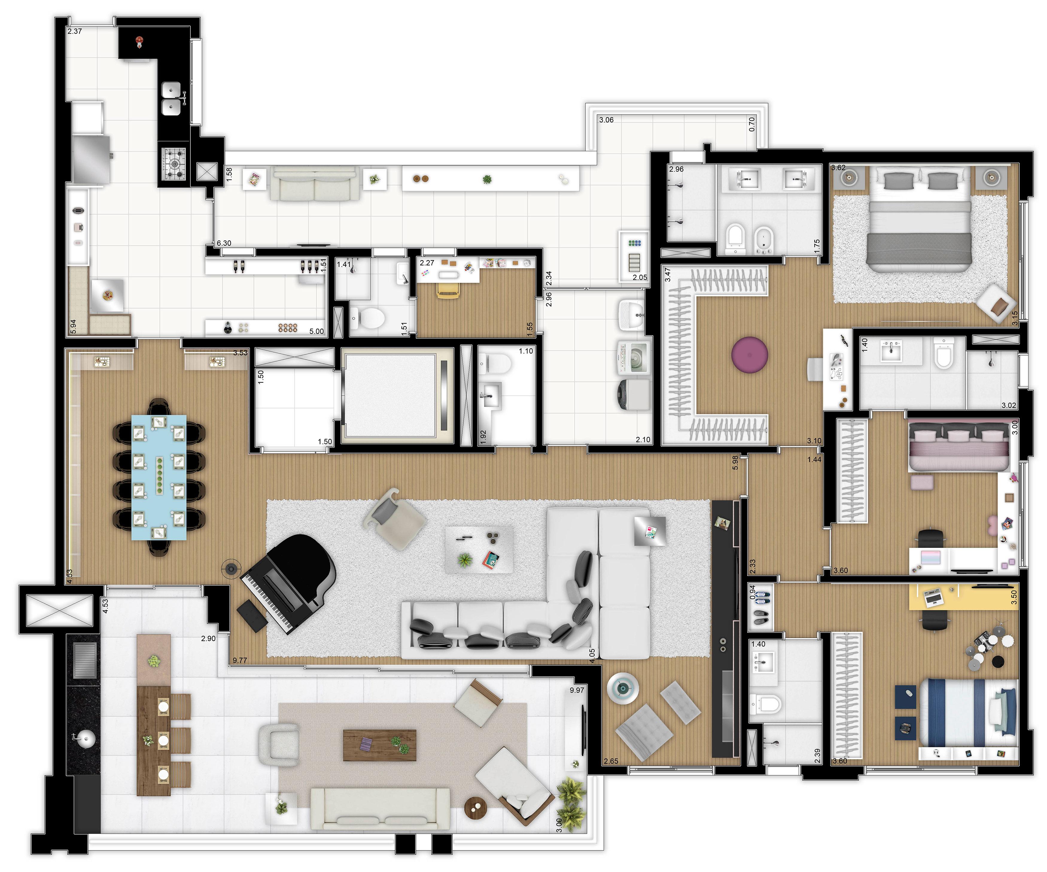 241 m² - 3 suítes - Living ampliado