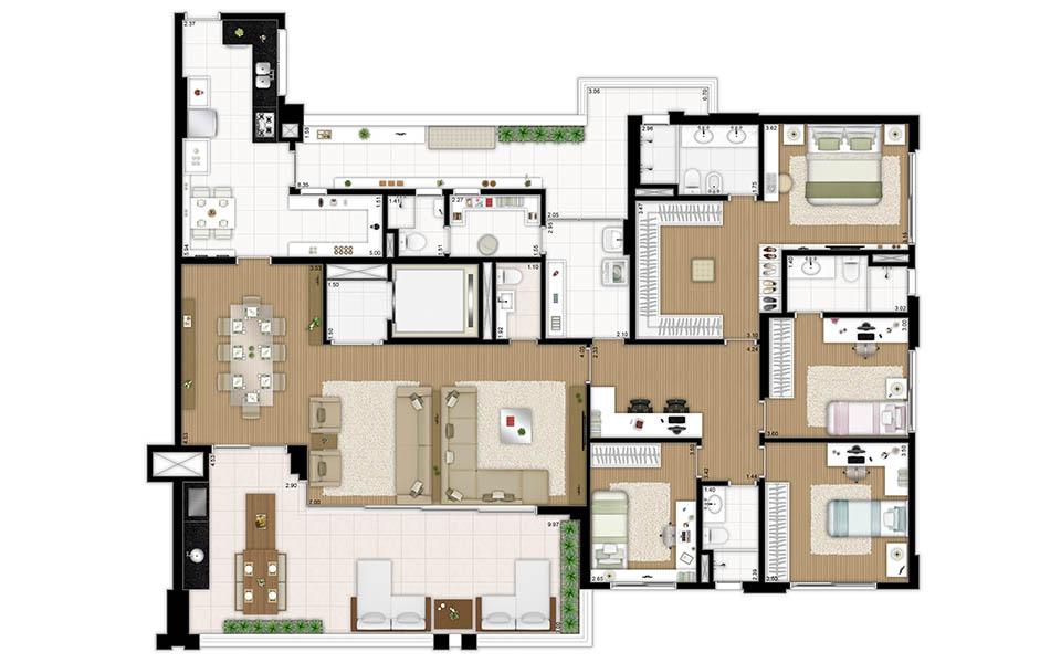 Reserva Manacá Planta 241 m² - 4 dormitórios Tecnisa
