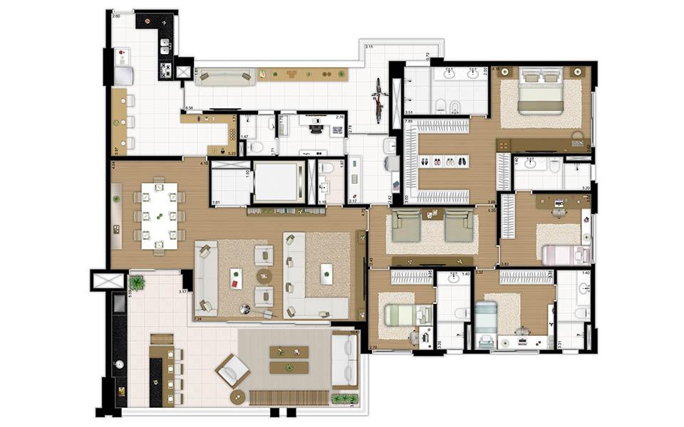 plantas reserva jardim:241 m² – 3 suítes – Living ampliado 241 m² – 4 dormitórios 283 m²