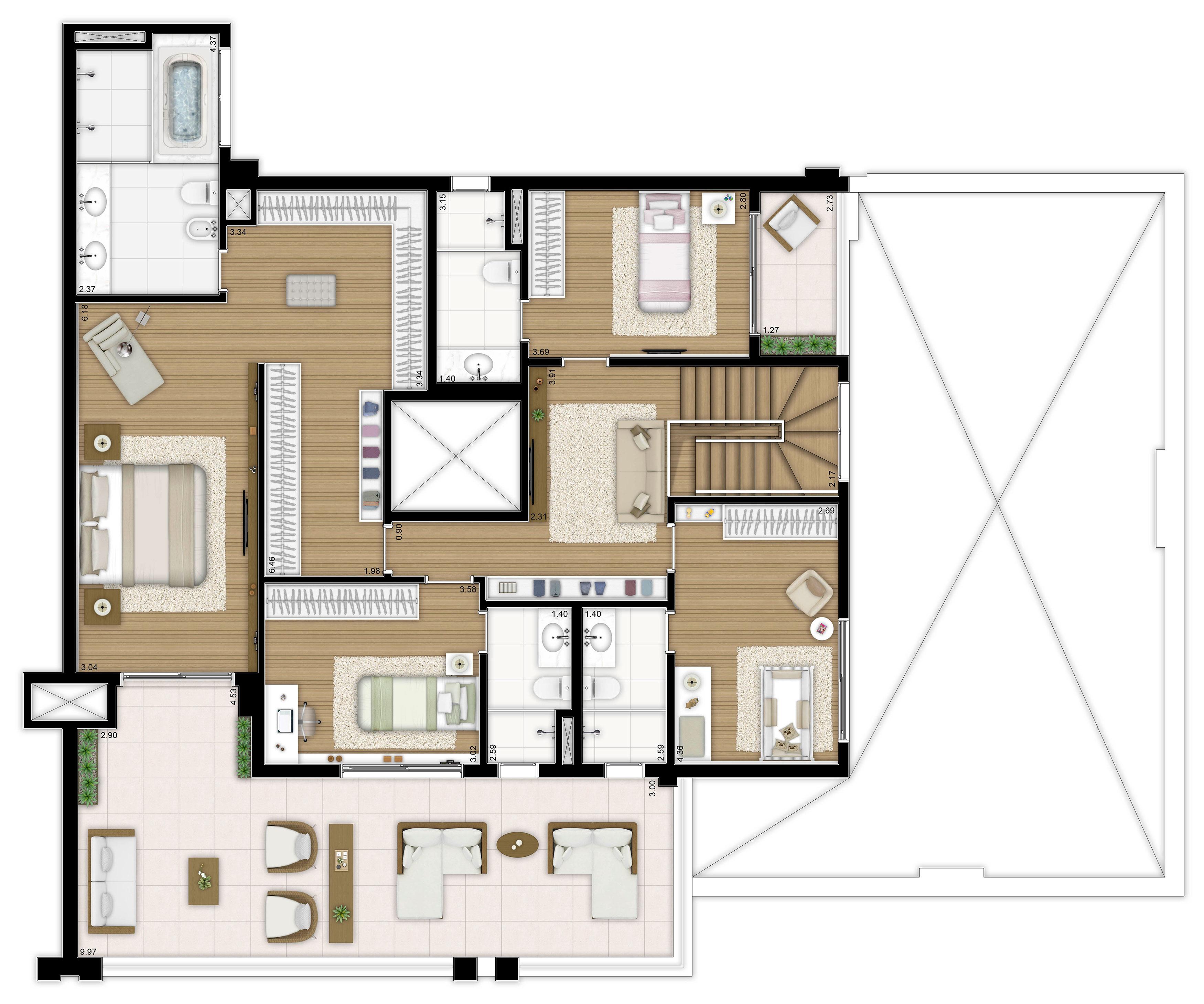 415m² - 4 suítes - Duplex superior