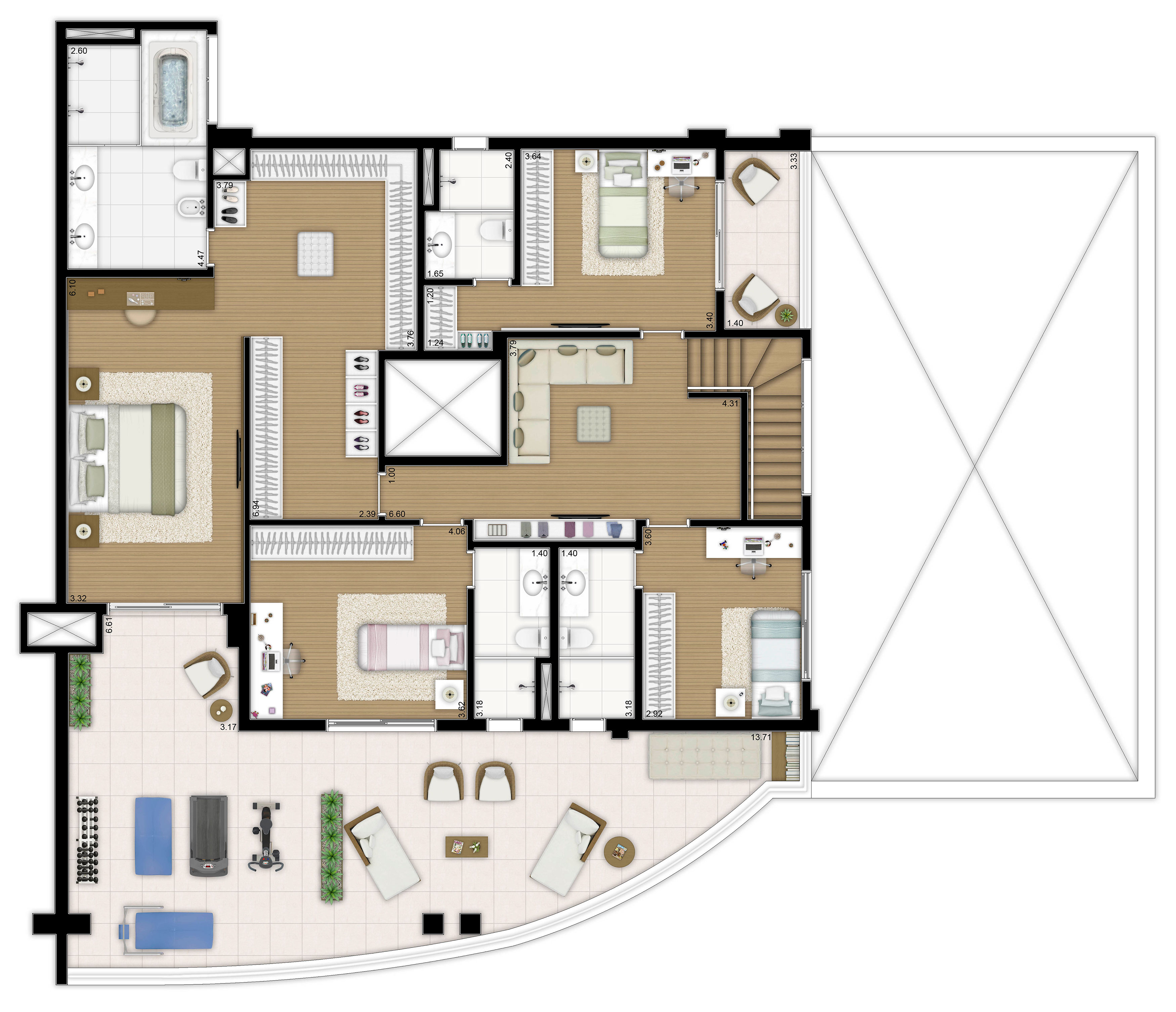 496m² - 4 suítes - Duplex superior