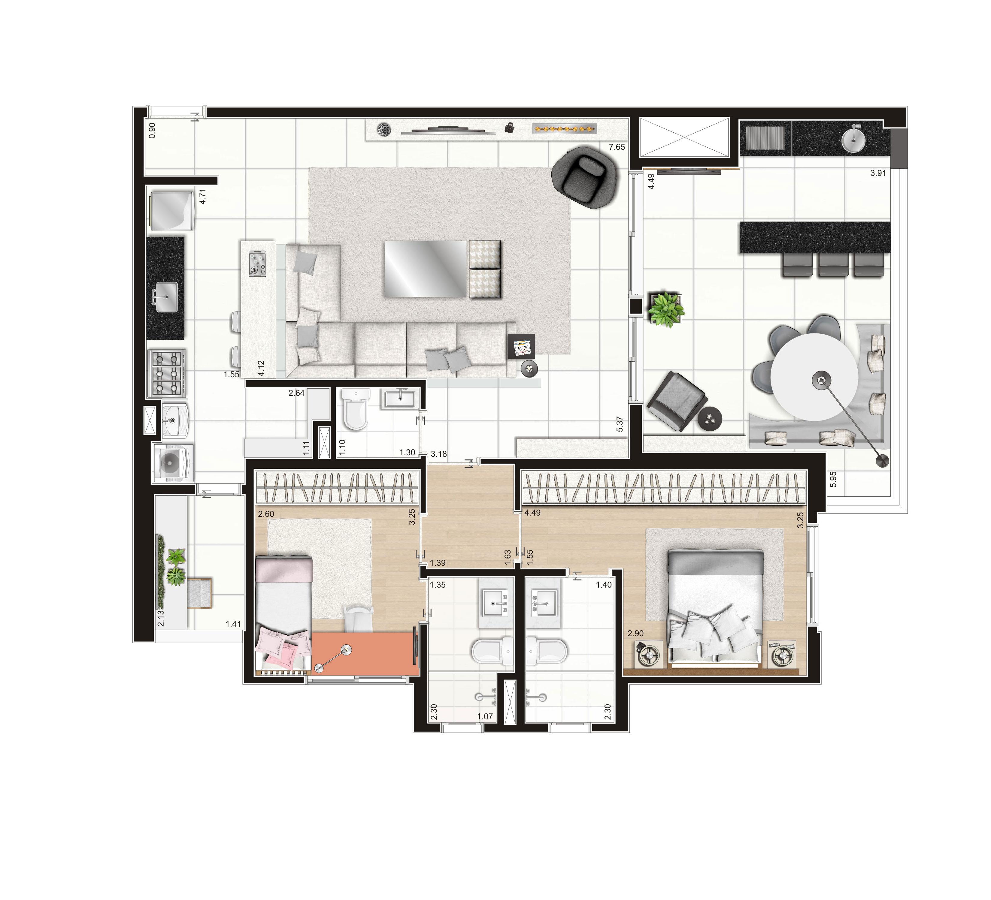 108 m² -  2 dorms
