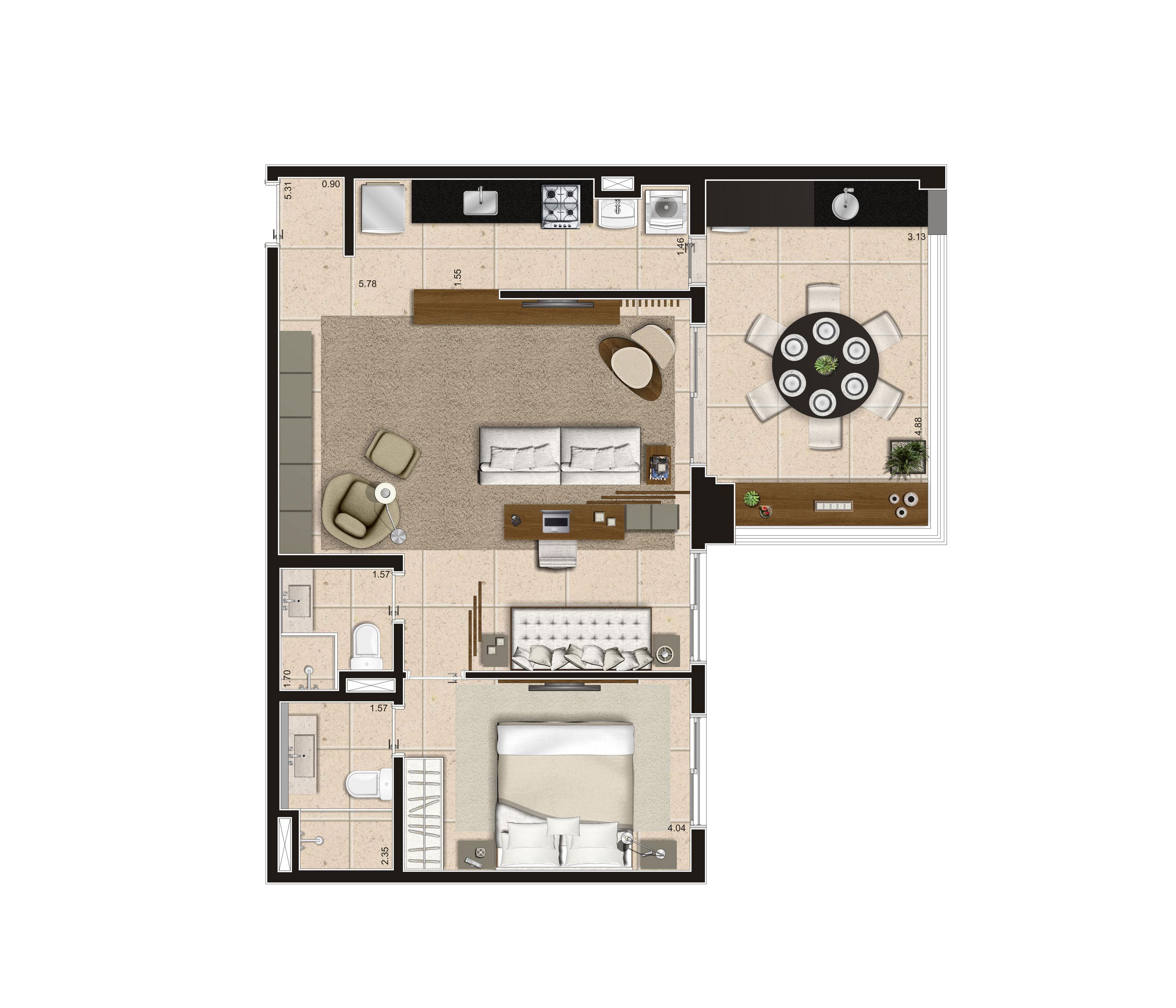 79 m² - 1 suíte