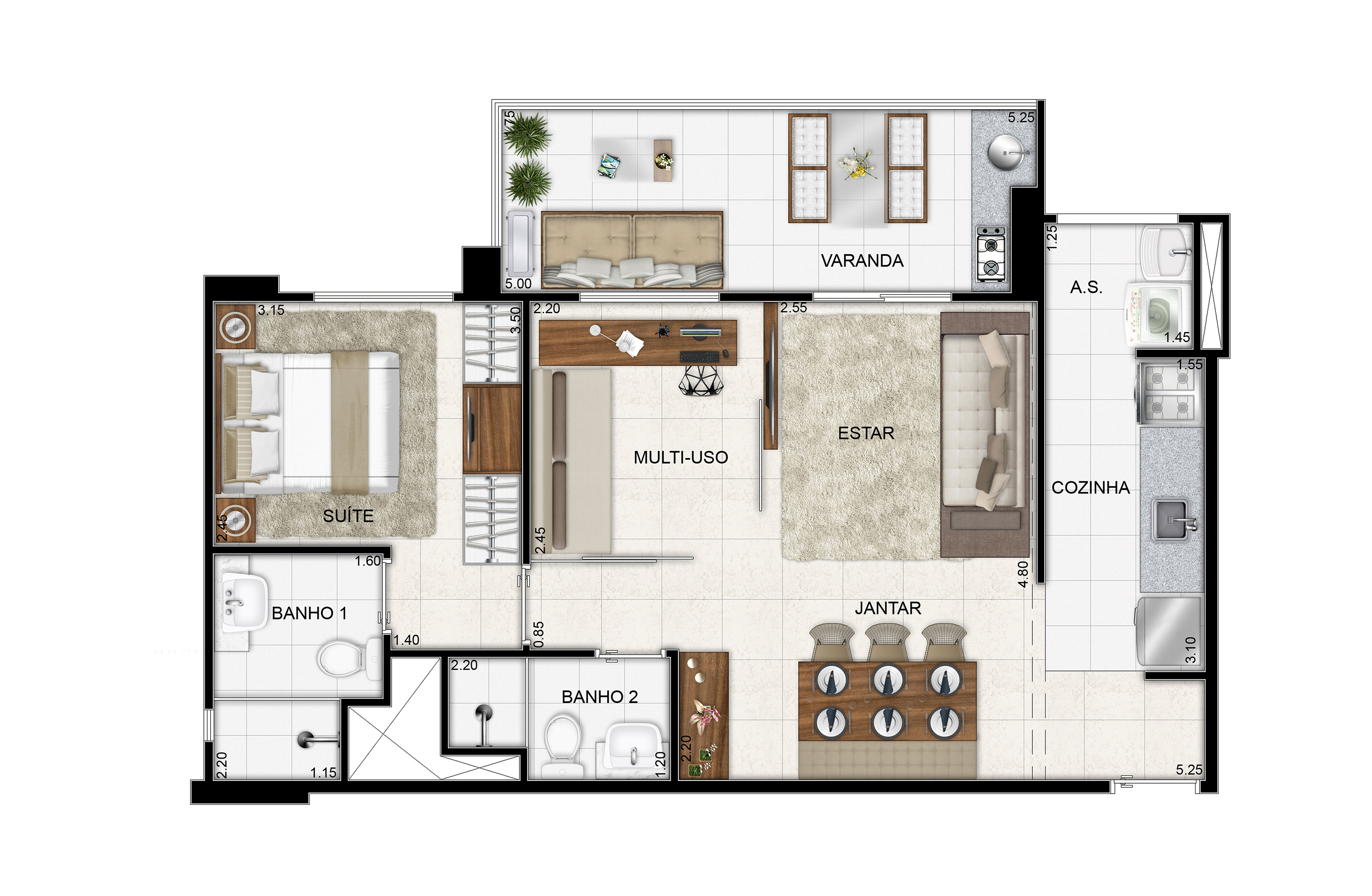 62,88 m² - 1 suíte