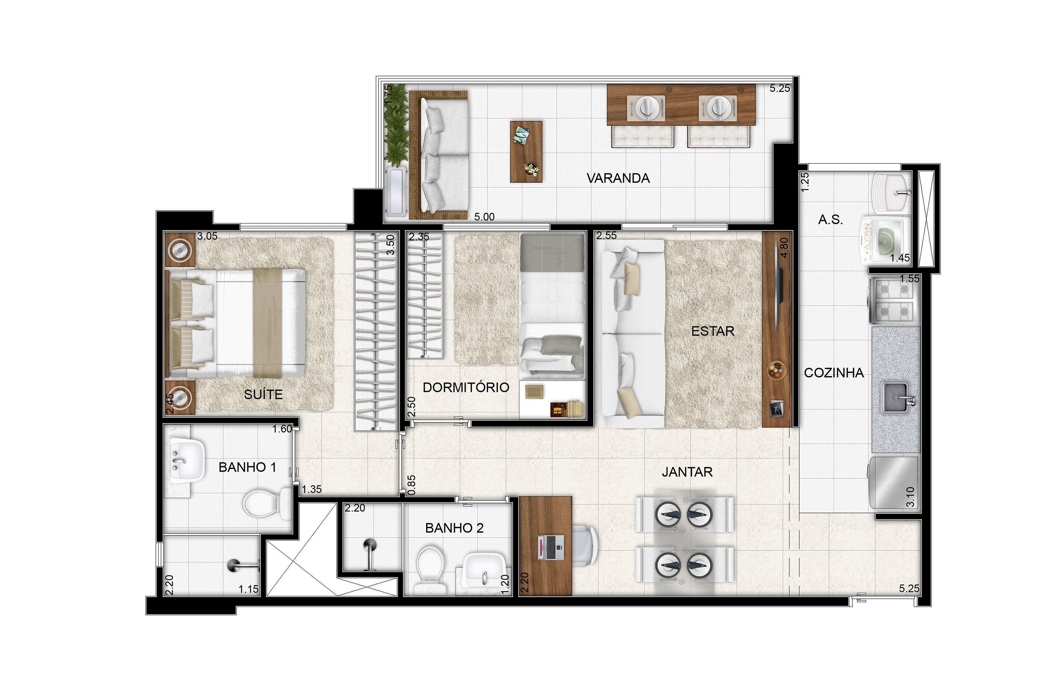 62,88 m² - 2 dorms - Apto tipo