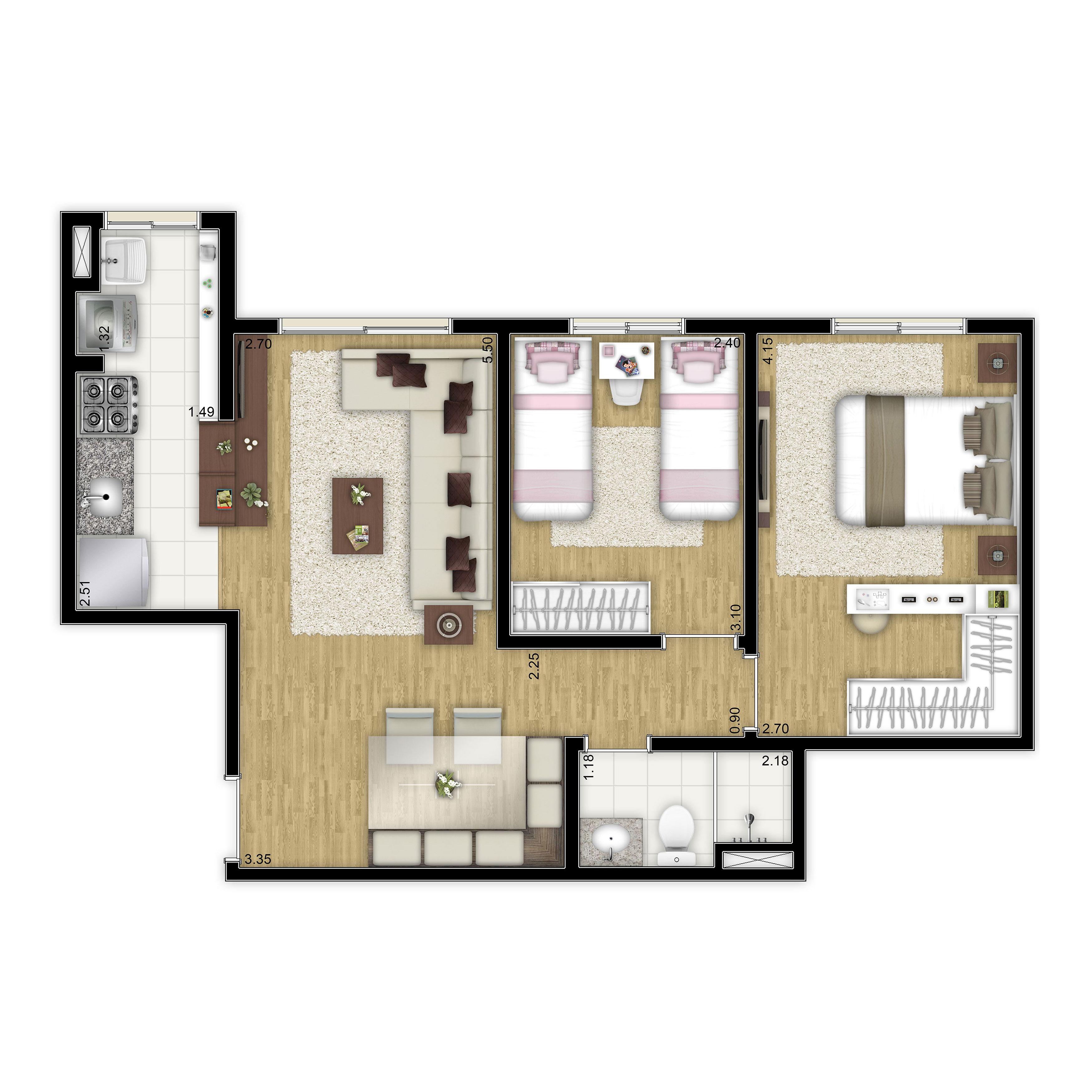 52 m² - 2 dorms - Apto tipo