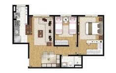 52 m² - 2 dorms - Apto tipo - Flex JD - Tecnisa