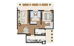 71 m² - 2 dorms - Apto giardino - Flex JD - Tecnisa