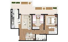 72 m ² - 2 dorms - Apto giardino - Flex JD - Tecnisa
