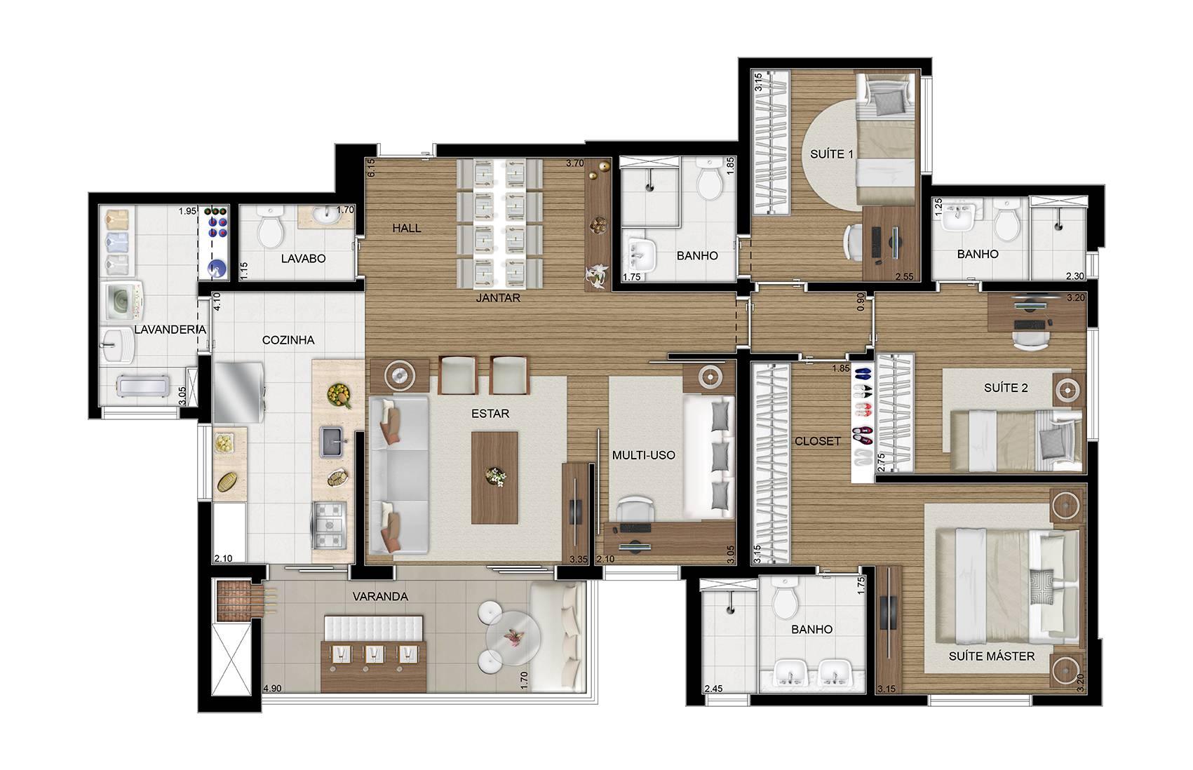 117 m² - 3 suítes com multi-úso