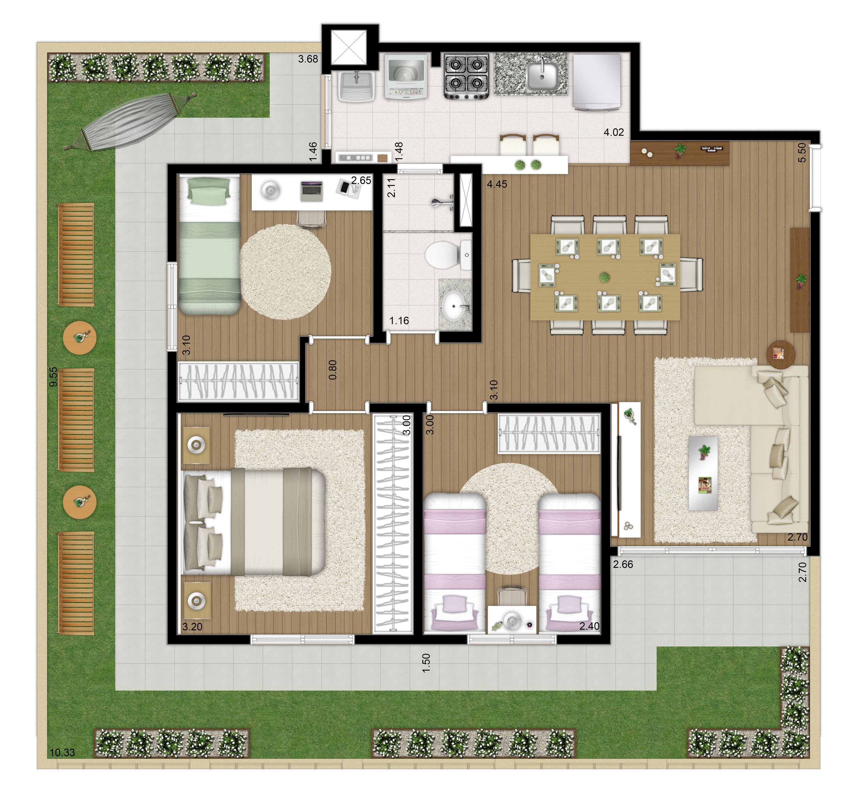 100m² - 3 dorms - Apto térreo final 1 - Imagem Preliminar