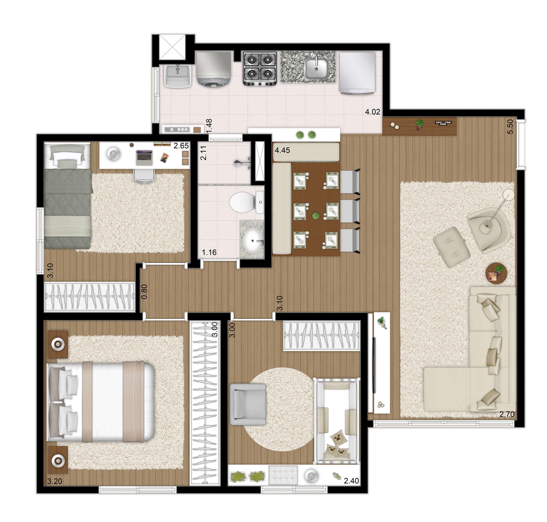 62m² - 3 dorms  apto tipo - Imagem preliminar