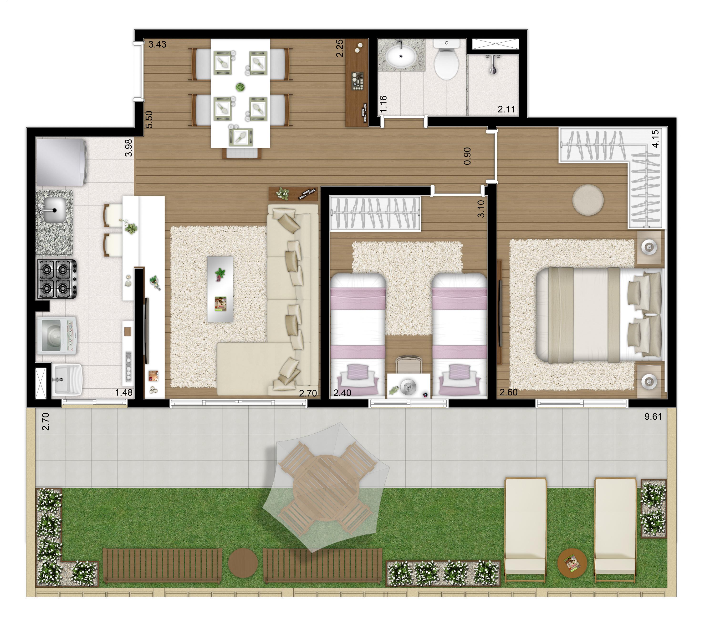 79m² - 2 dorms - Apto térreo final 3 - Imagem Preliminar